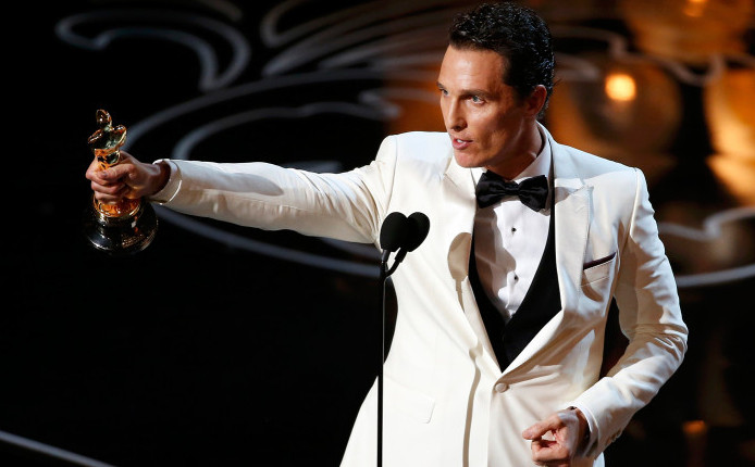 "Matthew McConaughey accepts the Oscar for best actor for his role in ""Dallas Buyers Club"" at the 86th Academy Awards in Hollywood"